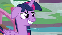 Twilight grins nervously with an eye twitch S8E1