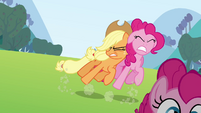 Applejack pushes the Pinkie clone S3E03