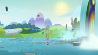 School stepping stones fall into the water S8E15