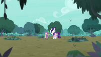 Spike and Rarity in middle of the forest S8E11