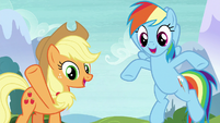 Applejack and Rainbow shouting different things S8E9