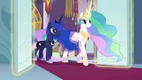 Celestia and Luna enter the throne room S9E2