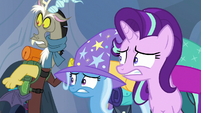 Discord, Trixie, and Starlight looking scared S6E26