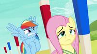Fluttershy dizzy; Rainbow Dash frustrated S6E18