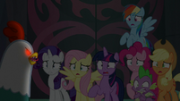 Mane Seven frightened by cockatrice S8E25