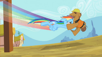 Rainbow Dash swooping the construction worker S2E8