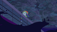 Rainbow looks over stern of the ship EGSB