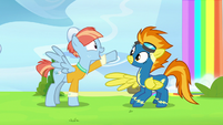 Windy Whistles pointing at Spitfire's goggles S7E7