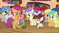 Scootaloo dismantling Pipsqueak's scooter S4E15