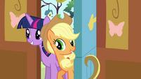 Twilight and Applejack enter the cottage S4E16