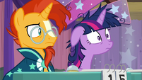 Twilight realizing what she just said S9E16