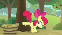 Apple Bloom bucking for apples S9E10