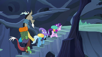 Discord, Trixie, and Starlight climbing hive steps S6E25