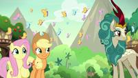 Main ponies and Rain Shine happy for Autumn S8E23