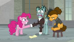 Pinkie shocks Sans Smirk with joy buzzer S9E14.png