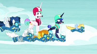 Princesses hang-glide with Wonderbolts S9E13