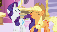 Rarity and Applejack laughing together S7E9