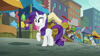 Rarity watches Pinkie Pie speed off S6E3
