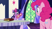 Twilight Sparkle reading outside of Pinkie's scroll S7E11