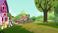 Applejack and Rarity leaving Sweet Apple Acres S6E10