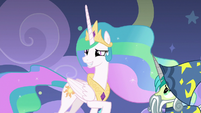 Celestia grinning with embarrassment S8E7
