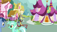 Discord pushes shopping cart through Ponyville S7E12
