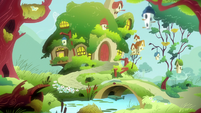 Fluttershy's cottage exterior at morning S7E5