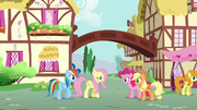Fluttershy and Rainbow greet Pinkie and Applejack S6E11.png