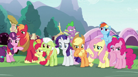 Main ponies and Spike think for a moment S9E25