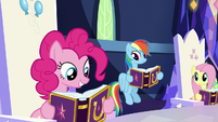 Pinkie Pie reading her Pinkie Pride entry S7E14