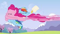 Pinkie Pie rocketing into Rainbow S3E7