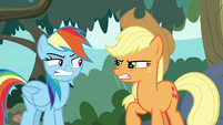 Rainbow and AJ scowling at each other S8E9