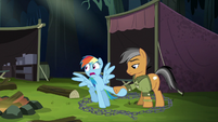 Rainbow pulls Quibble by the hoof S6E13