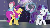 Rarity and Pursey Pink laughing together S8E4