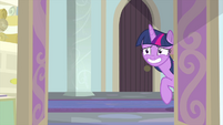 Twilight nervously grinning at the door MLPS4