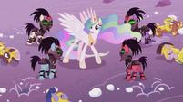 Crystal Ponies ambush Celestia from under the snow S5E25