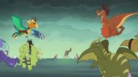 Dragons fly toward Flame-cano Island S6E5