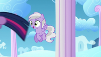 Filly sees Twilight flying past her S5E26