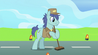 Janitor Pony sweeping the runway S9E26