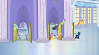 Ponies leaving the factory for lunch hour S5E5