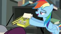 Rainbow Dash pushing typewriter S4E04