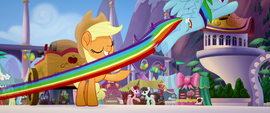 Rainbow snatches cider out of AJ's hoof MLPTM