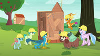 Young Six look at Rainbow's apple shed S8E9