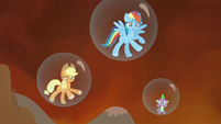 Applejack, Rainbow and Spike trapped in their bubble prisons S4E26