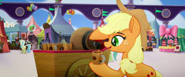 Applejack pouring a third cup of cider MLPTM