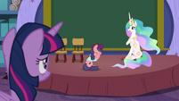 Celestia looks at Twilight; Raspberry Beret cries S8E7