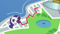 Map of Manehattan; red line leads to Rarity S6E3