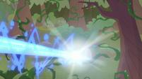 Princess Luna's magic blasting the vines S9E2