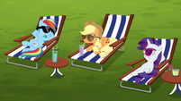 Rainbow, AJ, and Rarity relaxing on beach chairs S6E14