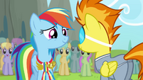 Rainbow smiling at Spitfire S4E10